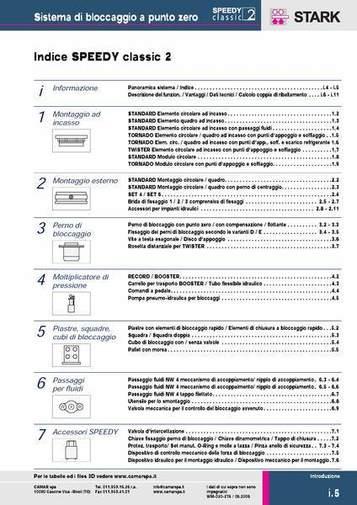 Gruppo Indice - SPEEDY CLASSIC 2 - Indice generale - Camar S.p.A.