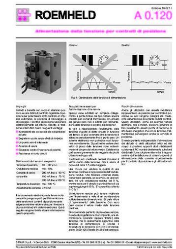 Gruppo A 0.120 - Alimentazione della tensione per controlli di posizione - Camar S.p.A.